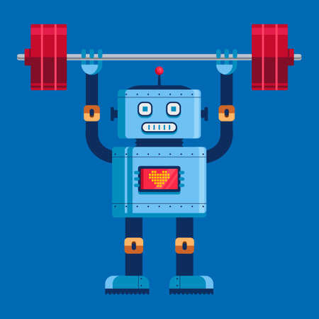 cute robot raises the barbell in full growth. cute character vector illustration