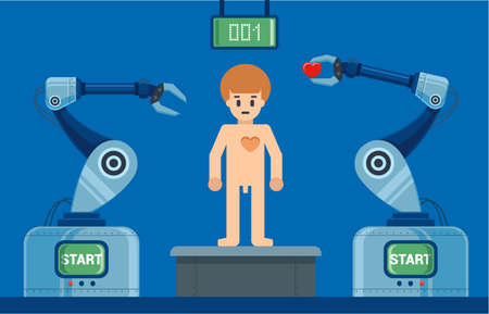 humans create robots on the assembly line. character vector illustration