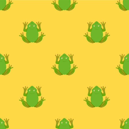 frogs pattern on yellow background. view from above. vector illustration