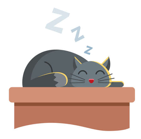 cute gray cat lies on the table and peacefully slumbers. snore cute animal. Character vector illustration on white background.