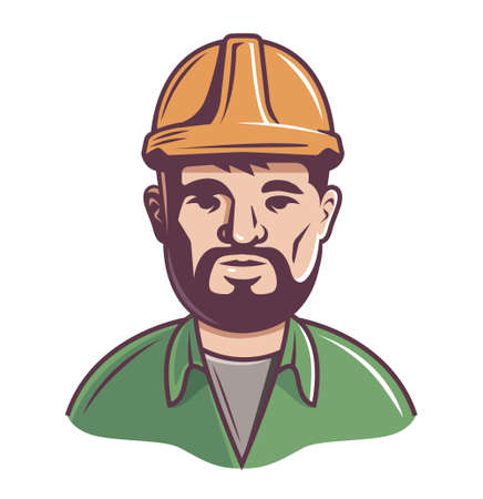 male builder in helmet on a white background. upper half of the body. vector illustration of a character with a beard. 向量圖像