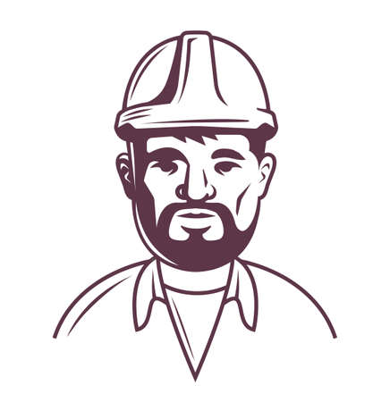 male builder in helmet on a white background. upper half of the body. vector outline illustration of a character with a beard.