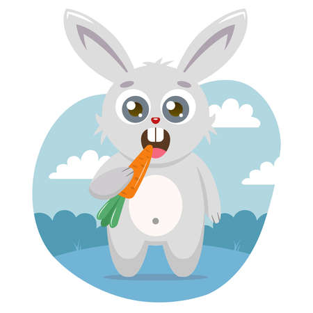 A cute hare holds a carrot in its paw and eats it against the backdrop of nature. vector illustration of character in bubble.