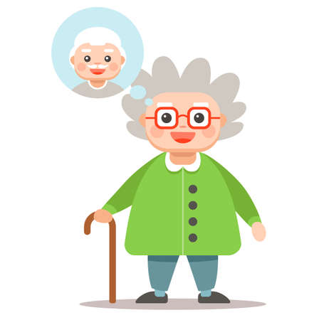 Grandma thinks about her man. cute gray woman with a cane. vector illustration. mans face in a bubble.