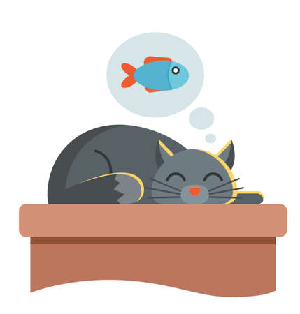 cute cat is sleeping on the table. he dreams of fish and he wants to eat. character vector illustration.