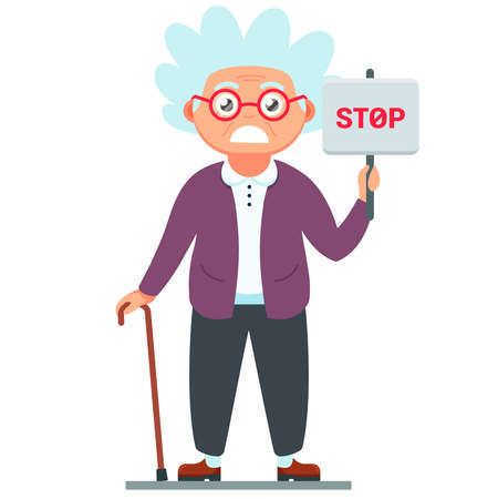 disgruntled old woman with a stop sign. vector illustration of grandmother character with a cane in hand on a white background. Ilustração