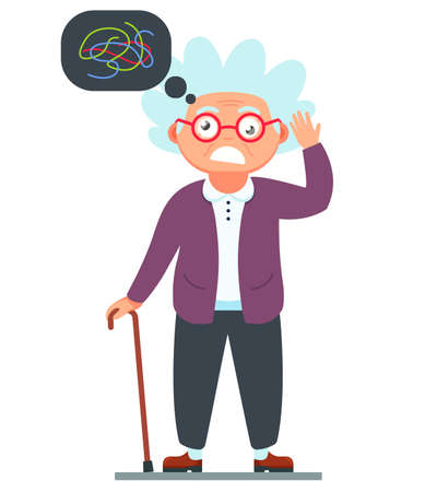 Grandma is crazy. dementia of a woman with a cane in her hands. bubble over your head. character vector illustration on white background Vector Illustration