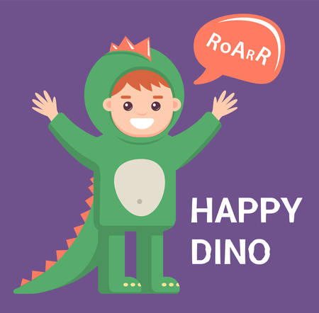 little baby in dragon costume on purple background. cute boy with the image of a dinosaur. Vector illustration for halloween. cool dress Illustration