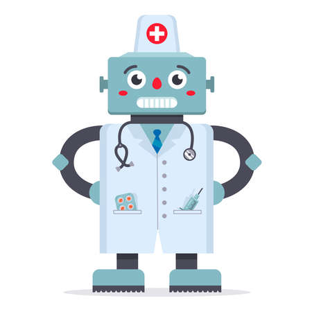 Cute robot doctor in a white coat. a game of medicine. technologies of the future. hospital treatment. character vector illustration