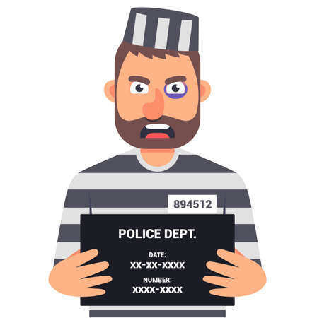 the caught criminal is holding a sign with the name for an identification photo. character vector illustration.