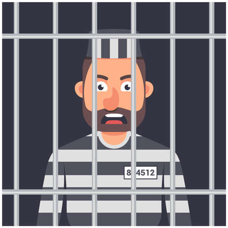a man in prison. striped prisoner shape. man behind bars. character vector illustration.