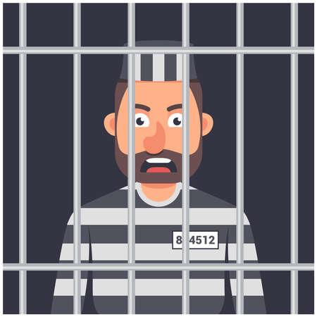 un hombre en la cárcel. forma de prisionero a rayas. hombre tras las rejas. Ilustración de vector de personaje.