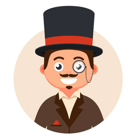 gentleman in top hat and glasses in a bubble. cute character of the 19th century. rich man vector illustration