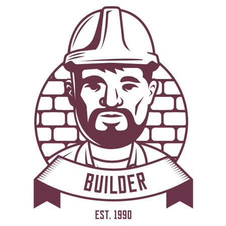 Builder emblem on a brick wall background with ribbon. character vector logo.