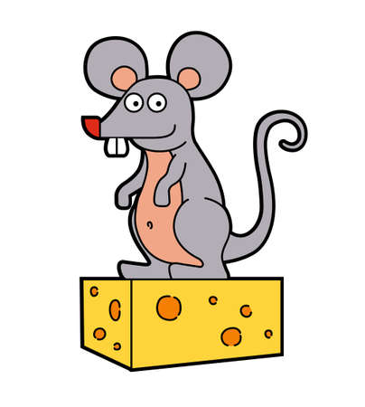 funny rat sitting on a piece of cheese. vector illustration