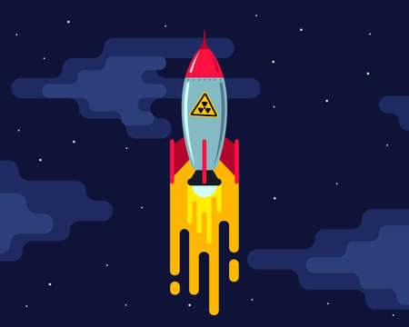 nuclear missile launch late at night. ballet rocket. flat illustration.