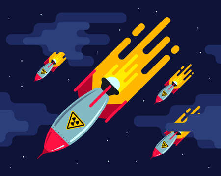 A lot of nuclear missiles in the night sky. aggressive attack. third world war. flat illustration