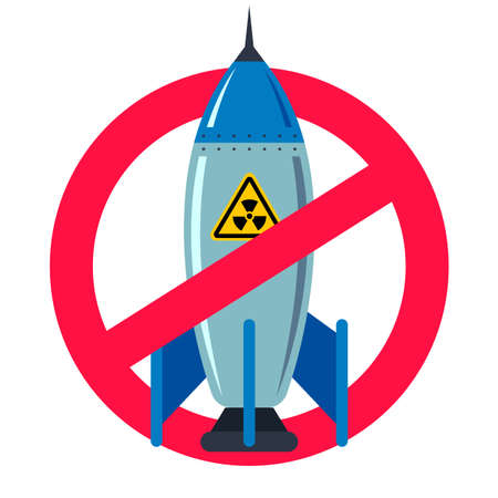 ban nuclear weapons. forbidden red sign. peaceful life. iron bomb. flat illustration