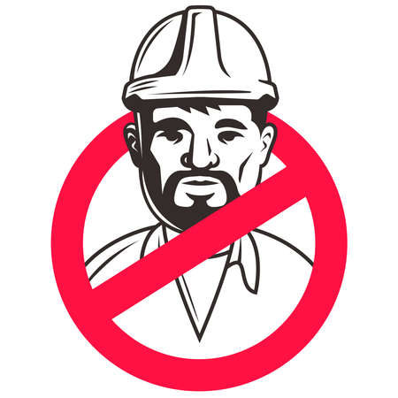 builder in crossed out symbol on white background. construction ban sticker. flat illustration.