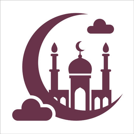 black mosque icon on the moon and clouds. illustration on white background