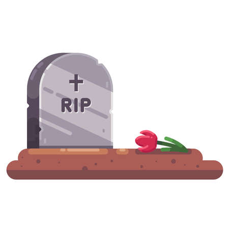 gravestone with flower. farewell to a relative. fresh grave. flat illustration.