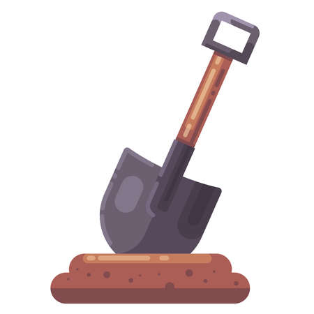 shovel stuck in the ground. dig a hole flat illustration.