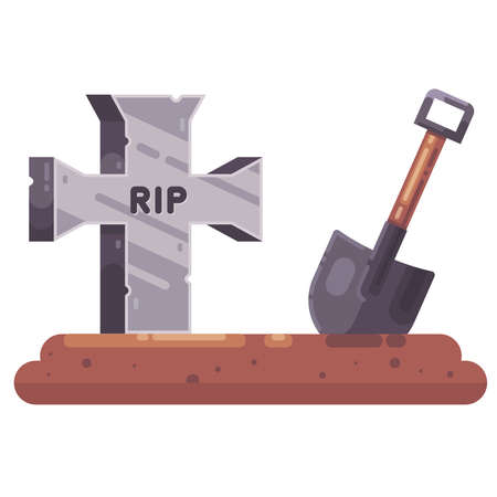 Old grave with a cross and a shovel. dig a hole business for a cemetery. funeral procession. flat illustration.