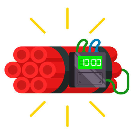 dynamite sticks with a timer attached on it. homemade bomb. flat vector illustration.