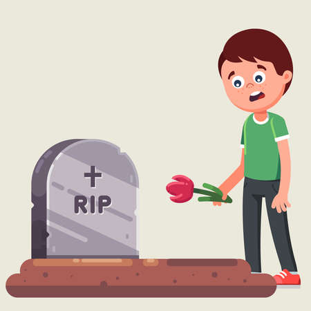 funeral ceremony. farewell to the dead. laying flowers on the grave. flat vector illustration Фото со стока - 128429554
