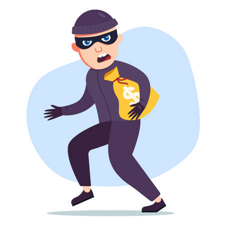 the robber stole a bag of money. the criminal sneaks. flat character vector illustration