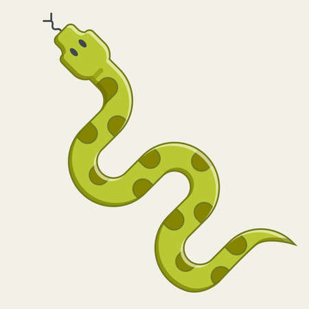 green snake crawling. dangerous viper from the jungle. flat isolated character illustration. 向量圖像