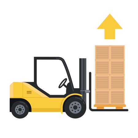 forklift lifts the load up. lots of pallet boxes. Isolated vector illustration on white background.