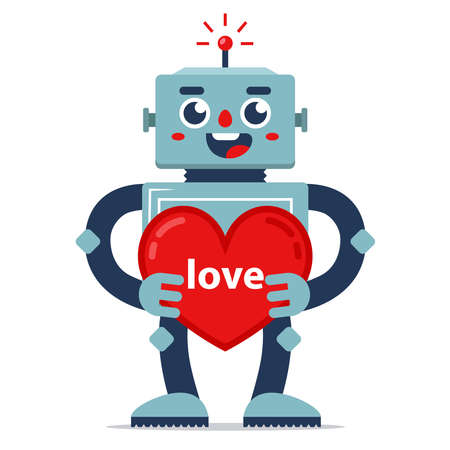 cute robot gives valentine. declaration of love. artificial Intelligence. relationship in the future. flat character vector illustration