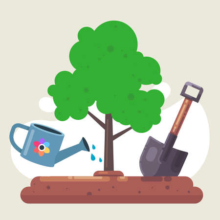 plant a tree in nature. shovel and watering can for the garden. water plants. flat vector illustration Vectores