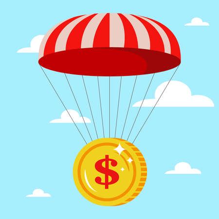 parachute with a gold coin in the sky. safe fall. crisis in the financial sector. flat vector illustration. Иллюстрация