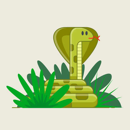 snake crouched in green bushes. hidden danger. deadly jungle. flat vector illustration.