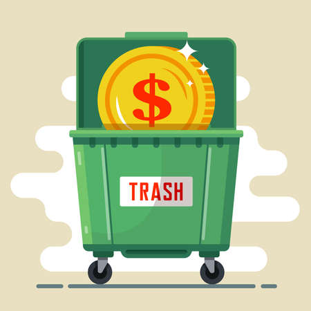 coin dollar in the trash container. currency default. crisis in the country. flat vector illustration