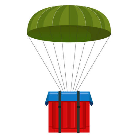 parachute with a load. online game. call chain box with supplies. flat vector illustration Illusztráció
