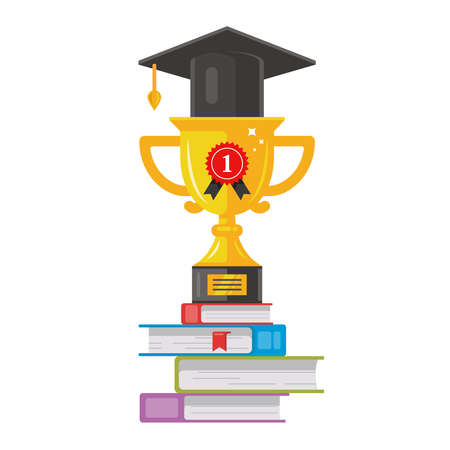 winning gold cup in a hat is on the books. honest reward. graduation class flat vector illustration