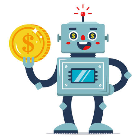 an iron robot holds a coin in his hand. passive income. automated work program. earnings on the Internet. flat vector character