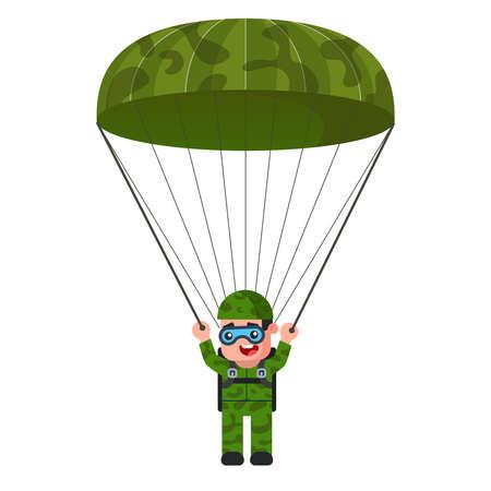 skydiver in khaki military uniform. parachute descent. green color. flat vector illustration. Ilustração