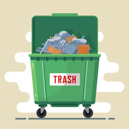 open green trash bin with trash inside. flat vector illustration