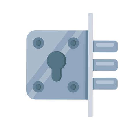 iron mortise lock icon. flat vector illustration on white background