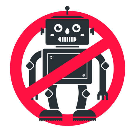 ban robots. sign crosses out the future. fear of science. flat vector icon