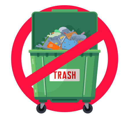 trash can prohibited. pollution of nature. green tank. flat vector illustration