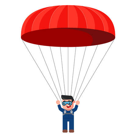 young male parachitist with a red parachute. extreme sport. leisure. flat vector illustration.
