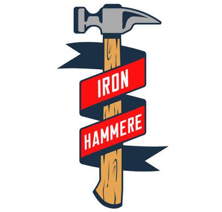 black hammer with tape on white background. stylish emblem. dark silhouette. flat vector illustration