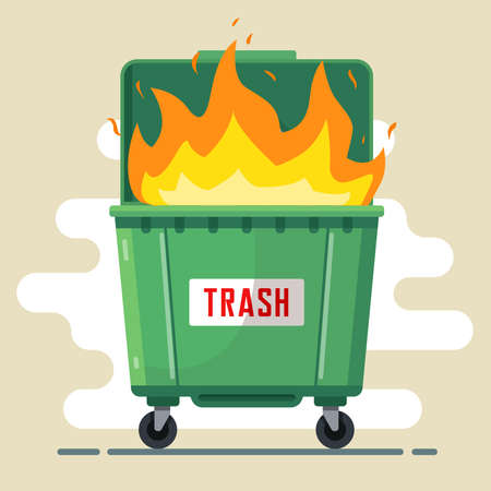 the trash can is burning. violation of the rules. harm to nature and people. bad ecology. flat vector illustration 向量圖像