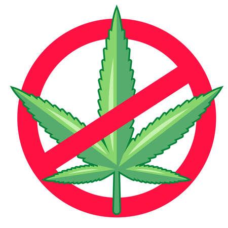 vietare la marijuana. le droghe sono illegali. illustrazione vettoriale piatto. Vettoriali