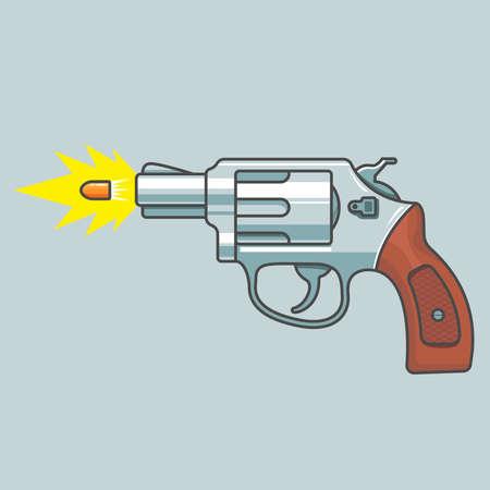 gun revolver shoots. flying bullet. fire shot. flat vector illustration  イラスト・ベクター素材